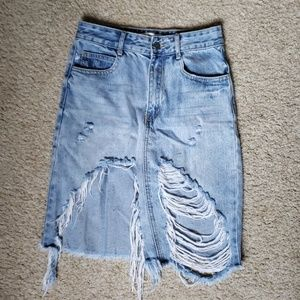 Forever 21 Distressed Denim High Waisted Skirt